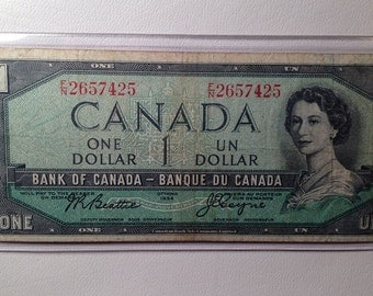 Series 1954 CANADA Old Paper Money - One Dollar Note
