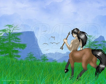 Anime Centaur Fantasy Print 5x7 and 8.5x11 #552 Darrius at the Mountains I'm Free