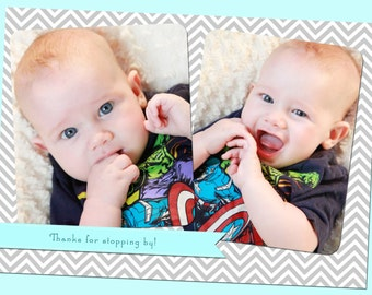 Simple Chevron Thank You with photos - Blue, Boy, Custom - Printable - 5x7