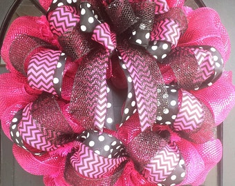 30% off SALE! Use code baby2016. Hot Pink and Black Deco Mesh Wreath