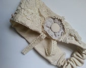 Mori Girl Lace Headband Shabby Chic Tattered Lace Fabric Rustic Wedding version 2