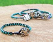 Birthday Gift Idea, Turquoise Gemstone Bracelet, Elephant Bracelet, Handmade Gift For Her, Mom Daughter Jewelry, Cuff Bracelets - Dark Brown