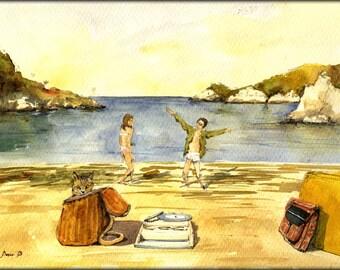 "PRINT-Moonrise Kingdom scene beach Wes Anderson 8x11"" Art ..."