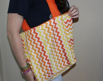 Ombre Orange Chevron with Orange Lining Reversible Tote Bag - Solid Strap