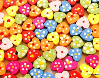 Mixed Multicolored Wood Heart Beads x 10
