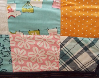 Baby Quilt for Boys or Girls Moda Fabrics Lucy's Crab Shack Print with Dark Denim Backing