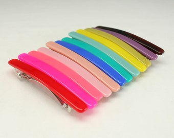 12pcs of 80mm Assorted Color French Barrettes with spring Hair Clips Hair Accessories Wholesale Lots hair clips hair crafts suppiles