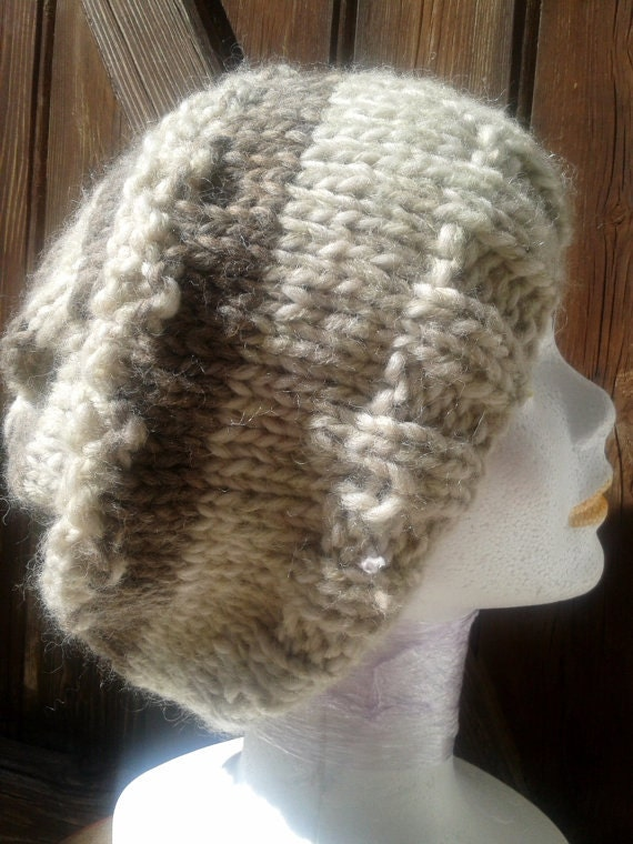 Beige Beanie French Wool with Brown Slouchy Hat 100% Wool Handmade Made in France Tag Pure Wool Hand Knitted Natural Hat #SophieLadyDeParis