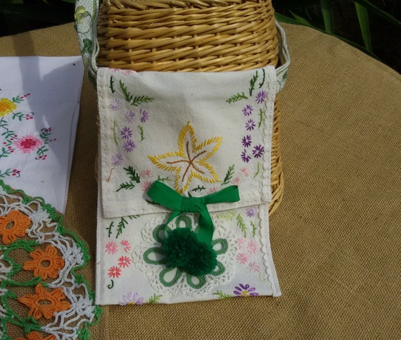 Pom Pom Hip Bag Hand Embroidered Multicolored Off White Cotton Braid Strap #sophieladydeparis