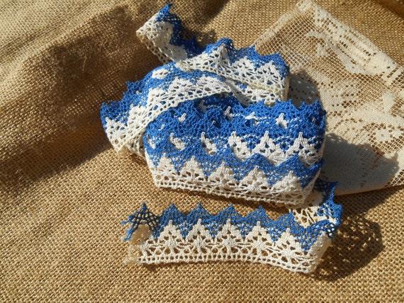 4 Yards Victorian Blue White Lace Braid French 1900's Cotton Handmade Provence Mediterranean Blue Braid #sophieladydeparis