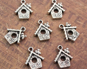 10 Bird House Charms Birdcage Pendants Antiqued Silver Tone 14 x 20 mm