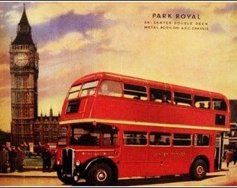 London Double Decker Bus Poster Print, 1950s
