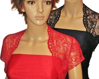 Ladies Red or Navy  Lace Bolero/Shrug in sizes UK 8,10,12,14,16,& 18