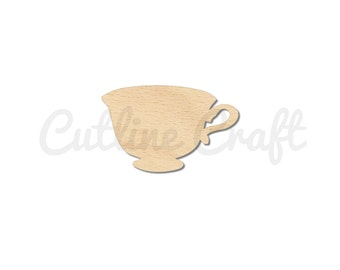 Tea Cup Cutout Style 1242 Shapes Crafts, Gift Tags Ornaments Laser Cut Birch Wood Various Sizes