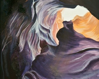 Original Acrylic Painting, Antelope Canyon Landscape, Textured Acrylic and Pumice, Purple and Orange, 24x36