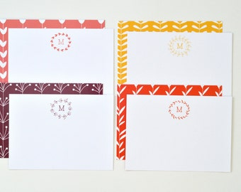 Organic Monogram Stationery // Set of 12 // Dawn