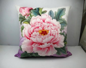 Decorative Velvet Pillow Cushion Cover Peony Flower Double Sides Pink Peony Purple Background