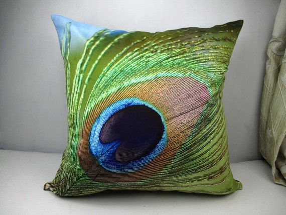 Throw Pillows With Feather Design : Items similar to Modern decorative high quality Velvet fabric throw pillow cushion cover peacock ...