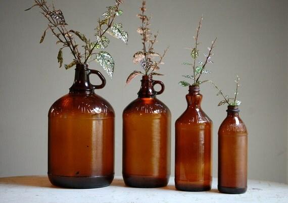 Vintage Brown Glass Clorox Bottles - Mid Century Bottles - Rustic Wedding Decor