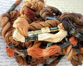 Embroidery Floss, Brown, Rust, Orange, Vintage Sewing Notions, Craft Supply Destash