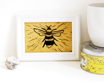 Bee - Linocut, original printing on yellow paper