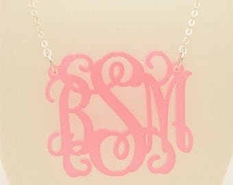Small 1.5 Inch Custom Vine Monogram Acrylic Necklace, Pink Passion Fruit, Personalized Bridesmaid Gift, Personalized Jewelry
