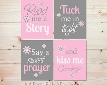 Baby Girl Nursery Decor Nursery Wall Art Set of 4 Prints Read Me A Story Tuck Me in Tight Pink Gray Nursery Quad Print Set #0912