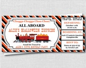 Halloween Train Express Birthday Invitation - Fall Train Theme - Ticket Design - Digital Design or Printed Invitations - FREE SHIPPING