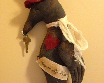 Handmade Primitive Valentine Crow Key to My Heart Anitque Key Wall or Door Hanger