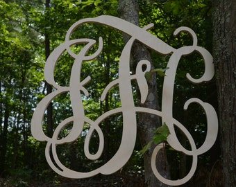 "32"" Vine Script Three Letter Monogram- Wood Letter monogram-home decor- wedding decor"