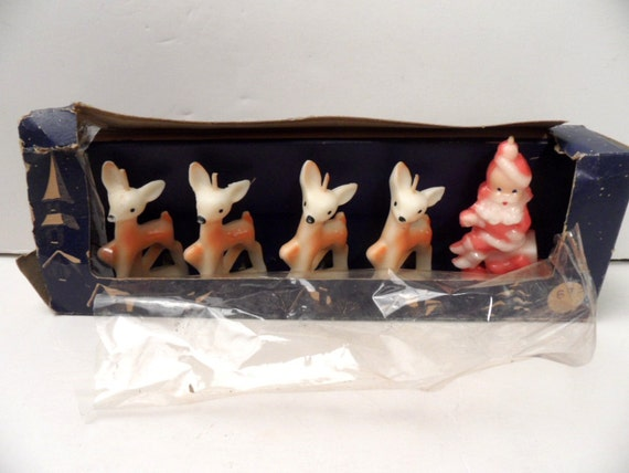 5 Vintage Gurley Candles Reindeer And Santa Candle Set