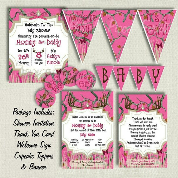 pink camo baby shower invite package by bitsnpiecesevents on etsy