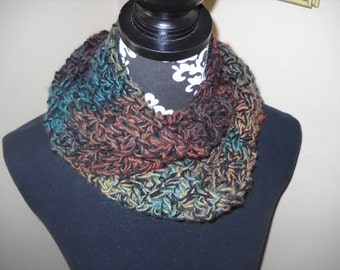 Soft Infinity Scarf in Muted Autumn Colors - Sage / Russet / Turquoise / Gold / Black / Plum