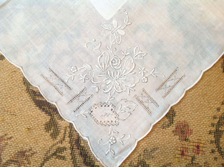Vintage embroidered handkerchief wedding by shabbychicgallery