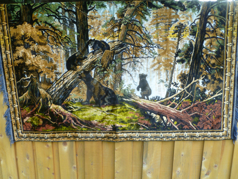 Vintage Large Velvet Bear Family Tapestry Rug Carpet Wall