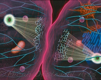 """Abstract surrealism print of cell biology painting """"Division of Threads"""". DNA, microbiology, science art, abstract art, biological, cellular"""
