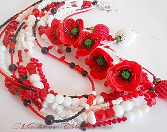 Necklace,Necklace with poppies, buy necklace, poppies, handmade necklace with flowers crazyme