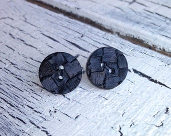 Large Black Brick Button Earrings