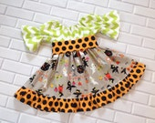 Girls Halloween Dress Baby Toddler Fall Dress Orange Black Boutique Clothing By Lucky Lizzy's