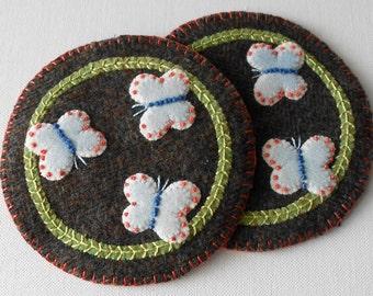 Handmade Felted Wool Butterflies Mug Mats