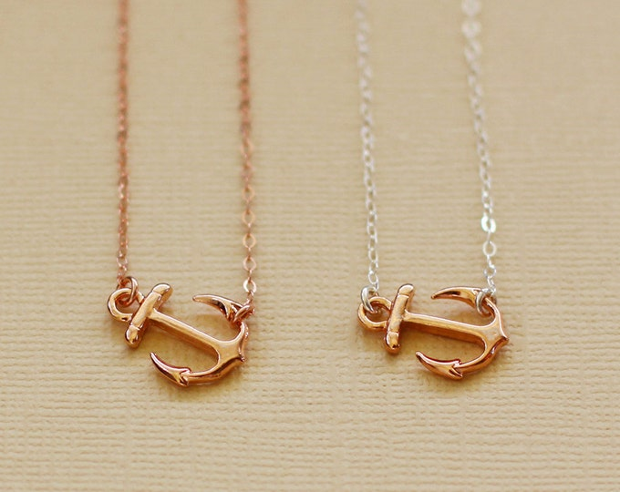 Rose Gold Anchor Necklace - Rose Gold Filled Chain