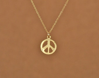 Gold peace sign necklace - peace necklace - delicate and dainty -  a 22k gold plated little gold peace symbol on a 14k gold vermeil chain