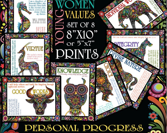 "Set of 8 YW Values Prints 8""x10"" or 5""x7""  Colorful frameable sizes"