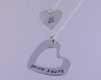 Mother daughter gift, Mother daughter heart necklace set, Mother daughter jewelry, In my heart necklace set