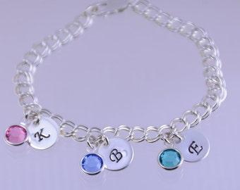 Grandmother's bracelet, Mother's bracelet, Mother in-law bracelet, Personalized bracelet, Charm bracelet