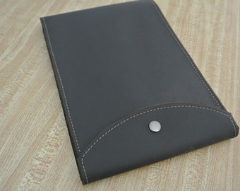 Leather Steno notepad Case with snap closure