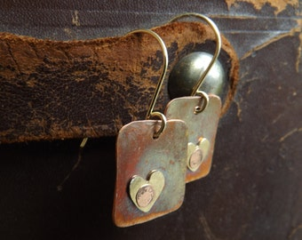 Rustic Copper Earrings with Tiny Brass Heart on Brass Earwires