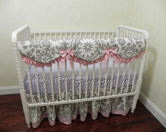 Custom Bumperless Crib Bedding Set Maria - Girl Baby Bedding, Crib Rail Cover in Gray, Pink, and Lavender, Pink Baby Bedding