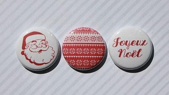 """3 Badges 1"""" Noël classique"""