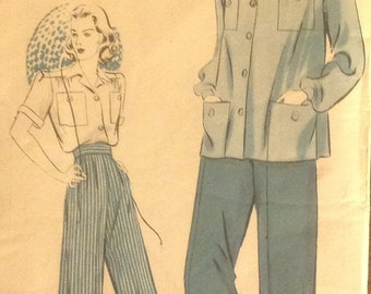 Hollywood Pattern 402 - Misses / Women's SHIRT, Blouse, Top  and SLACKS, Pants, Size 16, Bust Size 34, Hips 37 - Betty Grable - H9863